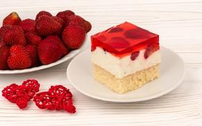 Picture strawberry, hearts, cake, cream, jelly, biscuit, Oleg Bannikov