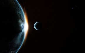 Picture space, sunrise, the moon, stars, Earth, Earth satellite