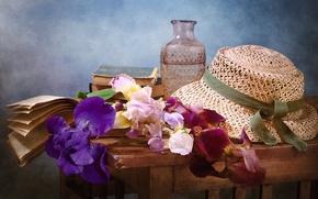 Picture flowers, books, hat, vase, irises, table