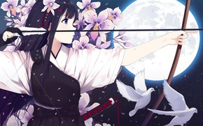 Picture girl, flowers, the moon, anime, bow