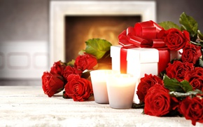 Picture roses, red, love, buds, heart, flowers, romantic, gift, roses, red roses, valentine`s day