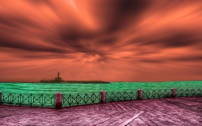 Picture the sky, lighthouse, promenade