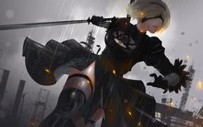 Picture girl, sword, dress, cyborg, cyberpunk, Square Enix, art, nier, Platinum Games, automata, YoRHa No.2 Type …