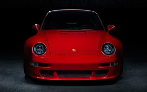 Picture red, front, garage, 993, classic cars, Porsche 993