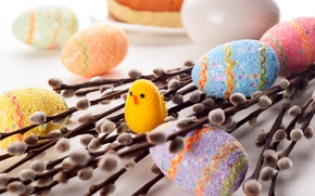 Wallpaper Easter, branches, chicken, Verba, holiday, eggs, eggs