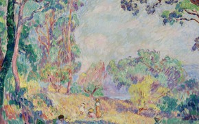 Picture nature, picture, Henri Lebasque, Henri Lebacq, Landscape with Young Women and Girls