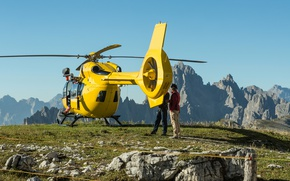 Wallpaper stones, yellow, rocks, the sky, the sun, hill, people, helicopter, grass, mountains, landscape