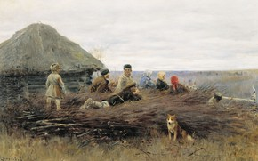 Picture oil, dog, hut, canvas, 1899, Children on the brushwood, Alexey STEPANOV