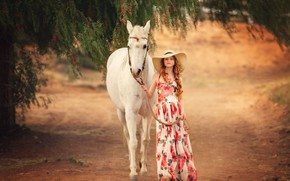 Wallpaper mood, horse, horse, hat, dress, girl, Edie Layland