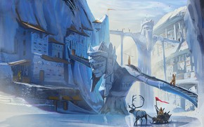 Picture ice, deer, sleigh, settlement, Ice and Horns
