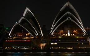 Picture megapolis, lighting, the night sky, the city, lights, water, night, promenade, Opera house, illumination, the …