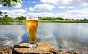 Picture greens, summer, the sky, the sun, clouds, landscape, glass, river, mood, shore, beer, stump, bokeh