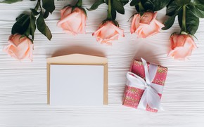 Picture Flowers, Roses, Holiday, Gift, The envelope