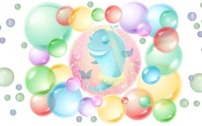 Wallpaper children's, bubbles, fountain, kit, art