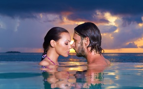 Picture girl, love, sky, sea, landscape, woman, sunset, water, evening, man, boy, mood, couple, face, Romantic, …
