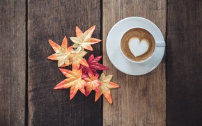 Picture autumn, leaves, love, heart, coffee, Cup, love, heart, wood, autumn, leaves, cup, romantic, coffee, autumn, …
