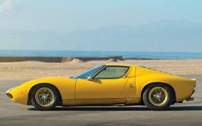 Picture Color, Auto, Yellow, Lamborghini, Machine, Bright, 1971, Car, Supercar, Side view, Lamborghini Miura, P400, SVJ, …