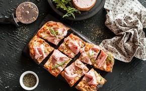 Picture greens, pizza, delicious, bacon