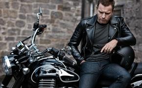 Wallpaper black, jeans, jacket, motorcycle, actor, gloves, helmet, biker, bike, photoshoot, Ewan McGregor, kozhanka, Ewan McGregor, ...