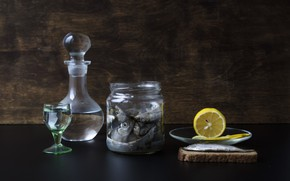 Picture lemon, fish, Bank, still life, vodka, decanter