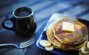 Picture coffee, pancakes, breakfast