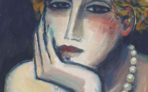 Wallpaper Jean-Pierre Cassigneul, Modern French painting, sad, beads, 2000, Face II