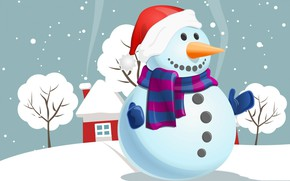 Picture holiday, scarf, Christmas, house, snowman