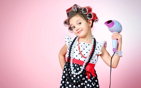 Picture decoration, face, smile, child, girl, beads, girl, dress, child, curler, Hairdryer
