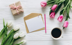 Picture flowers, holiday, Tulips, Coffee, Letter, the envelope, Gift