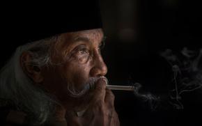 Picture smoke, cigarette, male, gray