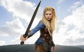 Wallpaper forest, the sky, girl, clouds, landscape, mountains, weapons, sword, hairstyle, blonde, braids, the series, mail, ...