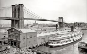 Picture ship, New York, pier, USA, Brooklyn bridge, 1905-th year