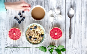 Picture berries, Breakfast, blueberries, wood, grapefruit, coffee cup, cocoa, breakfast, muesli