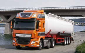 Picture orange, bridge, Parking, DAF, tank, tractor, DAF, the trailer, 6x2, Euro6, DAF CF 440