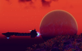 Picture planet, starship, No Man's Sky, Hello Games