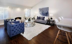 Picture design, table, sofa, carpet, furniture, fireplace, mansion, design, living room, room, living