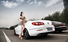 Picture road, the sky, look, Girls, Volkswagen, dress, hairstyle, Asian, cars, beautiful girl
