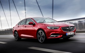 Picture the sky, clouds, red, bridge, movement, the fence, Insignia, Opel, Insignia Grand Sport