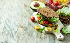 Picture bread, sandwich, tomato, salad, avocado