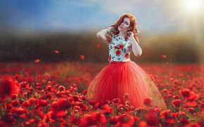 Picture field, girl, flowers, mood, Maki, texture, dress, Marina Baccardi