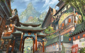 Wallpaper Chao Yuan Xu, Yaun has a broad range of styles in his paintings, China city, ...