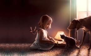 Wallpaper cat, dog, the game, Coexistence, Cyril Rolando, art, book, children's, the evening, mouse, friends, tale