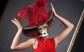 Picture girl, woman, model, hat, feathers, hands, dress, mask, girl, hat, in red, dress, hat, fun, …