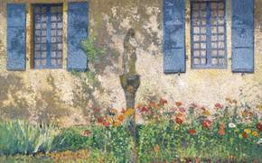 Picture flowers, house, Windows, picture, Henri-Jean Guillaume Martin, Henri Matrin, The Parterre under the Windows