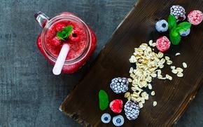 Picture berries, raspberry, Breakfast, blueberries, mug, tube, drink, BlackBerry, smoothies, Yuliya Gontar