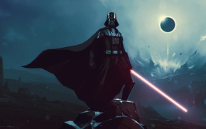 Picture Star Wars, Darth Vader, lightsaber, artwork, sith, pearls, strong, cape, lord sith, black side of …