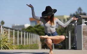 Wallpaper pose, hat, yoga, girl, legs, flexibility