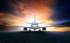 Picture the sky, the plane, glow, runway, passenger