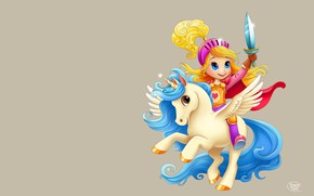Picture the game, art, unicorn, Pegasus, children's, horse, SveslaTasla