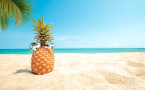 Wallpaper sand, sea, beach, summer, the sky, palm trees, stay, shore, glasses, summer, pineapple, beach, vacation, ...